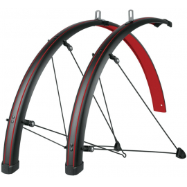 SKS BLUEMELS STINGRAY 28 MUDGUARD SET: MATT BLACK/BLAZING RED 45MM